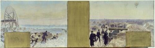 Binet, marins en expédition, le ballon au dessus des tranchées (esquisse 1889)