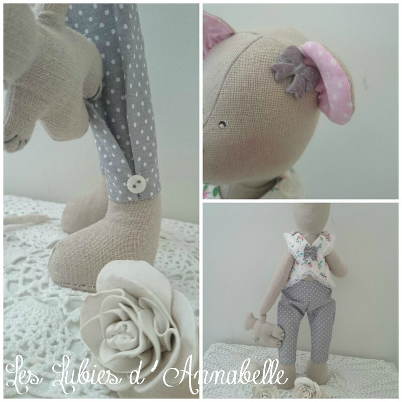 ours Tilda Shabby Chic rose et gris