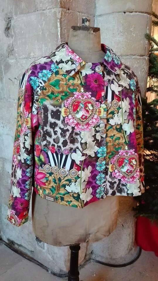 Veste VICTORINE en toile de coton imprimée zèbre-léopard-rose-violet - Doublure de satin noire (13)