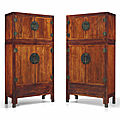 A pair of massive huanghuali-veneered compound cabinets, sijiangui, 18th-19th century