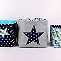 Corbeilles tissus personnalisable couleurs prénom deco chambre bébé bleu marine girs turquoise étoiles motifs géométriques scandinaves liste de naissance personnalisée cadeau naissance