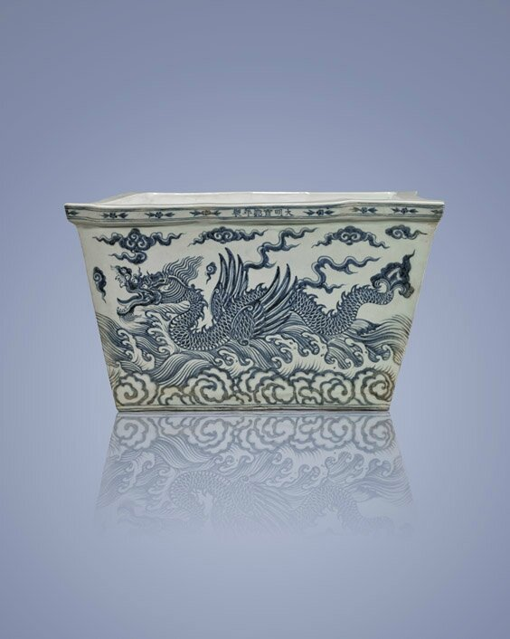 Blue and white porcelain ice chest, Ming Dynasty, Xuande Mark and Period