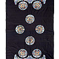 An uncut blue-ground 'dragon roundels' robe, late qing dynasty