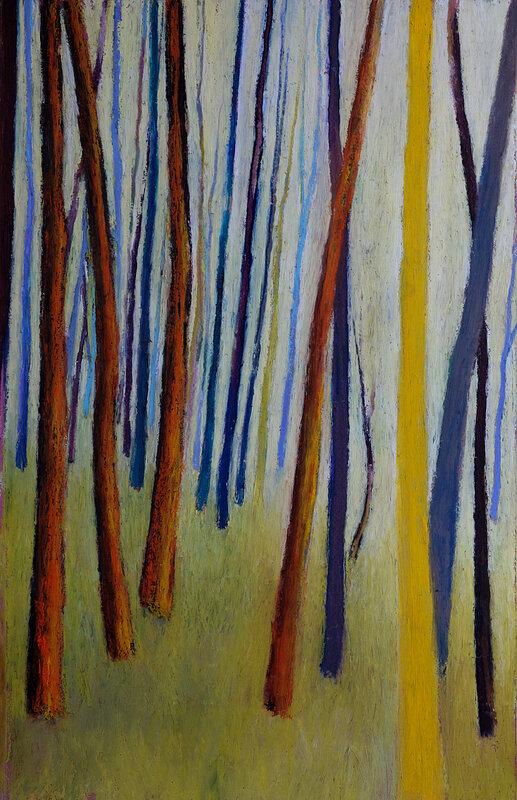 le tronc jaune, mars 2018, pastel à l'huile, 32 x 48 cm