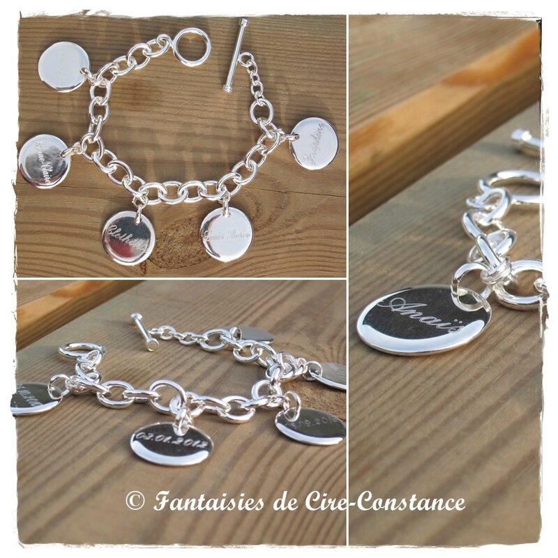 Bracelet mailles ovales 5 médailles gravées recto verso-2