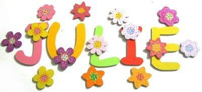 Lettres et motifs thème fleur pour Julie