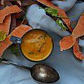 Soupe potimarron patates douces coco coriandre