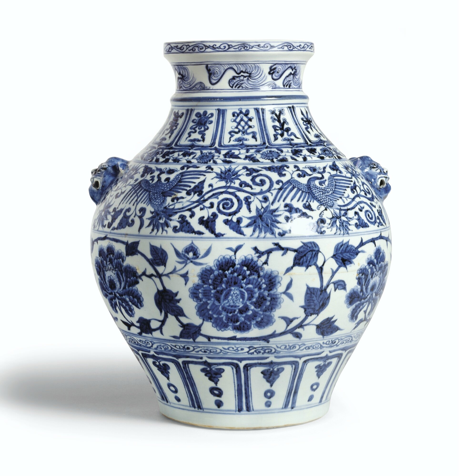 A rare blue and white 'peony' jar, Yuan dynasty