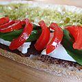 Sandwich tapenade tomate mozzarella basilic