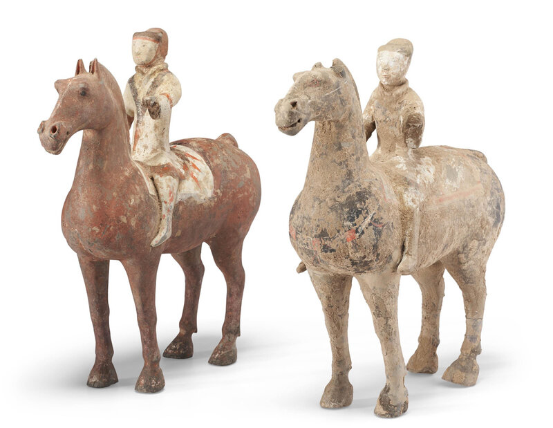 Tvo painted pottery figures of horses and riders, Han dynasty (206 BC-AD 220)