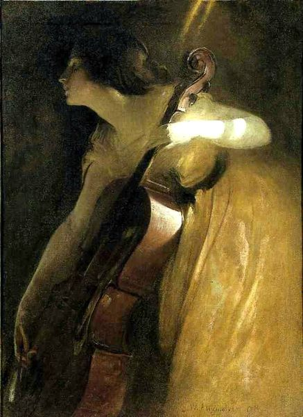 John White Alexander (1856-1915), A Ray of Sunlight (also known as The Cellist) 1898