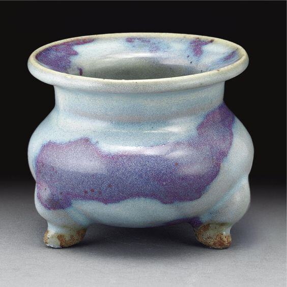 A small 'jun' purple-splashed tripod censer, Jin-Yuan dynasty