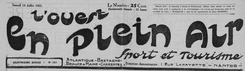 1923 le 14 juillet L'Ouest en plein air cyclisme Kerfelec et Charles Queffelec_1