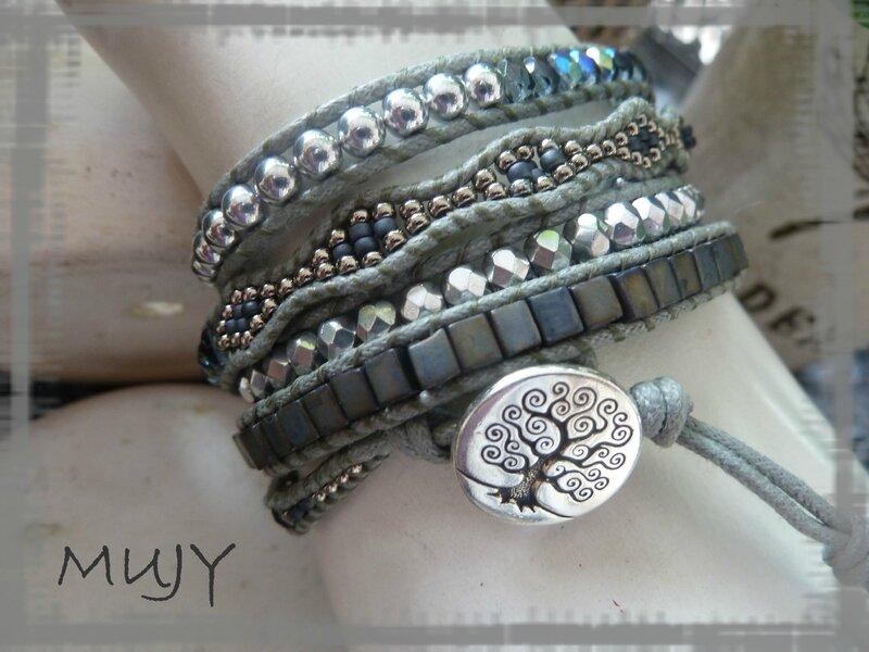 bracelet Wrap gris 5 tours détail