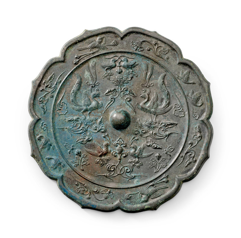 A large octafoil silvered bronze mirror Tang Dynasty