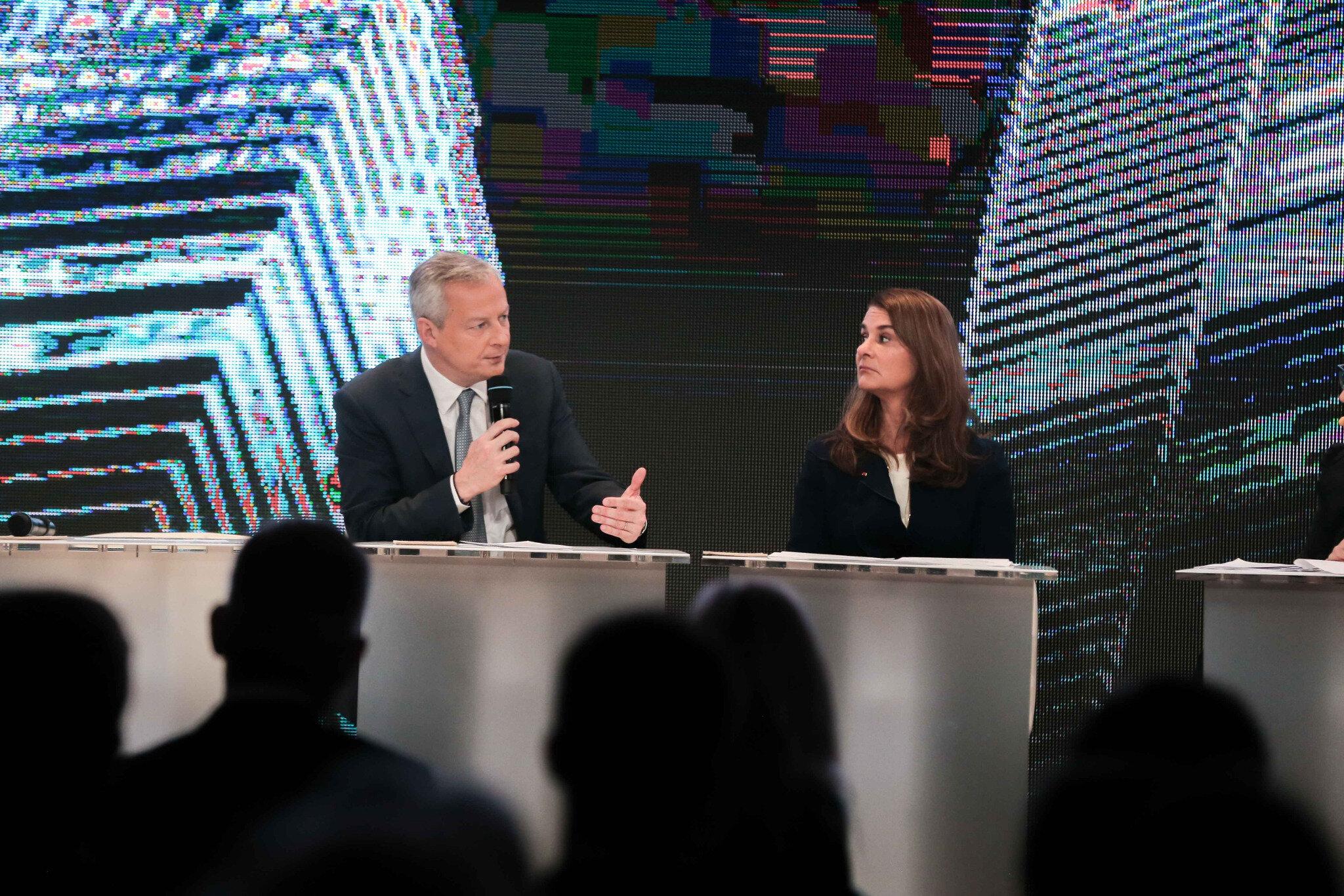 Melinda Gates et Bruno Le Maire, ministre de l'Économie. © Michel Stoupak. Mar 22.01.2019, 09h28m57.
