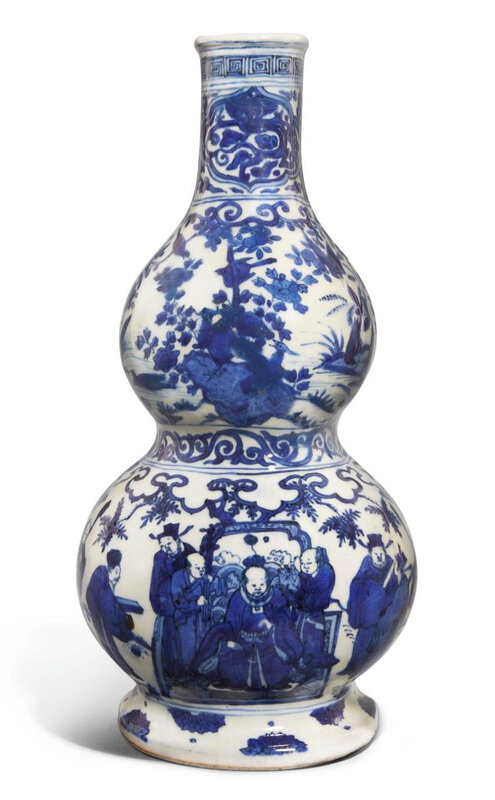 A blue and white double-gourd wall vase, Wanli mark and period (1573-1620)